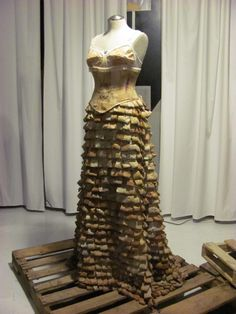 "Rio Wrenn ~ ""Tea Time"" (2011) Wearable dress sculpture; made from 1,400 tea bags, tea paper, bra parts, tea stained linen, leather for the bustle designed for Portland's ""Junk to Funk"" Artist/designer's site: riowrenn.com aka R.A.W. Textiles"