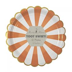 Meri Meri Toot Sweet Orange Stripe Party Plates: These beautifully decorated party plates feature a radial orange and white stripe pattern and a scollop edge with gold banding. Perfect for a summer party.