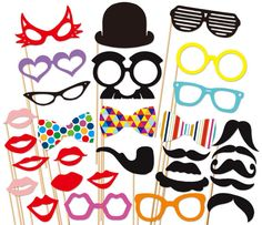 Photo Booth Props - 30 Piece Photo Props set - Wedding Photobooth Props $35
