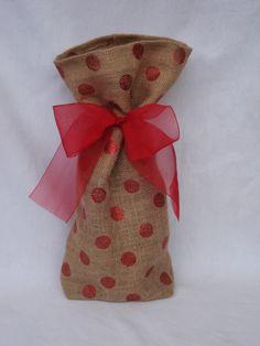Red Glitter Polka Dot Burlap Gift Bag Wine Bag - Just in Time for Christmas. $14.00, via Etsy.