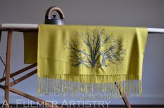 Tree Scarf in Yellow Green with Black Bronze Ink by Stassia, $44.00