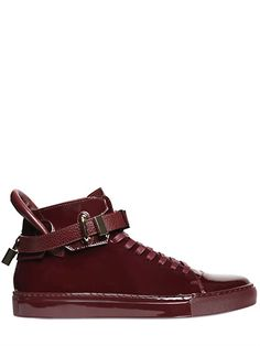 BUSCEMI Clip Patent Leather High Top Sneakers, Burgundy. #buscemi #shoes #sneakers