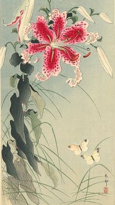 hoodoothatvoodoo:  Ohara Koson 'Lily and Butterflies'