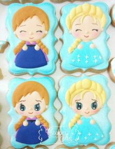 cute Frozen Elsa Anna cookies