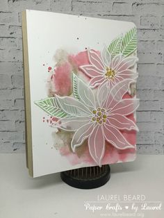 Mondo Poinsettia, DIY Bookmark Video and other links to share – Simply Cardmaking with Laurel Beard Poinsettia Cards, Christmas Poinsettia, Christmas Angels, Christmas Christmas, Gold Watercolor, Watercolor Cards, Christmas Crochet Patterns, Crochet Ornaments, Crochet Snowflakes