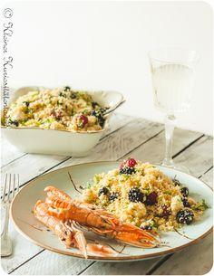 Taboulé mit Beeren und Feta Snack Recipes, Snacks, Pasta Salad, Feta, Veggies, Ethnic Recipes, Side, Foodblogger, Summer Vibes