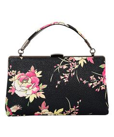 Another great find on #zulily! Black Floral Magnolia Clutch #zulilyfinds