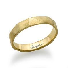 Wedding Ring14k GoldYellow Gold Ring With beaten by gispandiamonds, $325.00