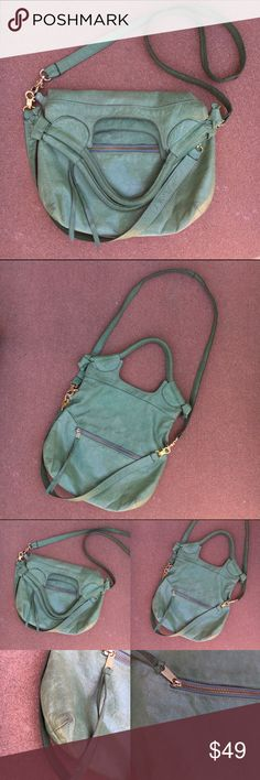"Anna Corinna Sea Foam Green City Tote Well loved but good used condition! Still plenty of life left. Bought from another posher, wore once to the Denver Posh Party ✨, and now want to pass along to another lovely lady! Beautiful shade of green. Custom made crossbody strap. Normal wear and scuffing. 1 pen mark (all shown). Interior has pilling but no stains, tears or damage anywhere, inside or out! Anna Corinna, not F+C. Offers warmly welcomed!  Unfolded: 19""H x 13""W, Folded over: 10""H x 13""W…"