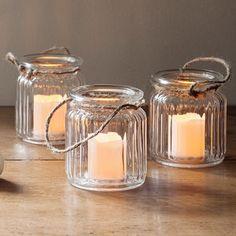 Set Of Three Glass LED Candle Jars