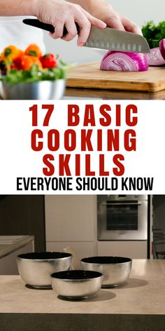 17 Basic Cooking Skills Everyone Should Know. Do you wish you could cook nutritious, homemade meals for your family? You just need a few basic cooking skills and you can make many nutritious and tasty dishes. Cooking For Beginners, Cooking 101, Cooking With Kids, Easy Cooking, Healthy Cooking, Cooking Recipes, Healthy Recipes, Beginner Cooking, Cooking Hacks