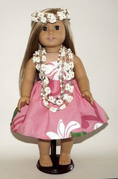 """Handmade in our shop in Hilo (Hula Capital of the World) is this Hula outfit for your American Girl Doll (or any 18 inch doll) modeled here by 2014 American Girl Doll of the Year, """"Isabelle"""". The outf"""