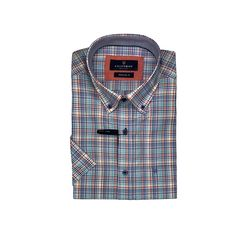 Fine Check Short Sleeve - Blue, Red and White Button Down Collar, Button Down Shirt, Skinny Fit, Red And White, Breast, Shirt Dress, Casual, Sleeves, Cotton