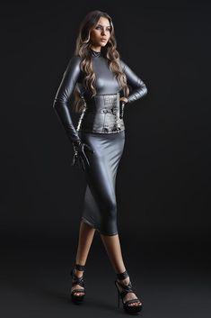 Wet Look Dress, Black Fishnets, Black Bralette, Leather Dresses, Waist Cincher, Black Bodysuit, Bra Lingerie, French Fashion, Leather Fashion