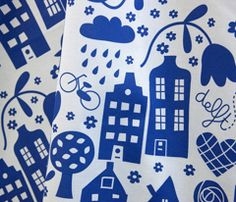 """Spoonflower $18/yard """"Delft...the city I love so well!"""" by Bora"""