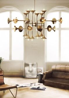 This selection of mid-century modern suspension luminaire gives you the light and the glamour for your home design. Luxury Chandelier, Chandelier In Living Room, Contemporary Chandelier, Room Lamp, Luxury Lighting, Living Room Lighting, Bedroom Chandeliers, Contemporary Interior, Chandelier Art
