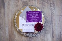 Purple wedding invitation suite | Green Blossom Photography | see more on: http://burnettsboards.com/2014/03/hunger-games-capitol-city-citizen-wedding/