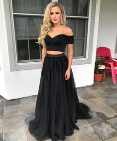 fb18241dfc9f4a Off the Shoulder Black Crop Top Prom Dresses Two Pieces Girls Senior  Graduation Long Dress
