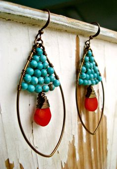 Turquoise Red Coral Earrings Brass Coated by BellaAnelaJewelry, $38.00