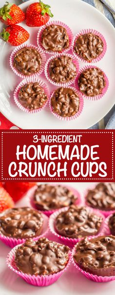 Photo collage of 3 ingredient homemade crunch cups in pink wrappers