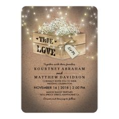 Rustic Country Wedding | Baby's Breath Lights Wedding Crate Invitations