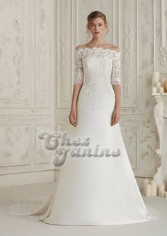 A perfect contrast of lace and satin, the bardot neckline of the Pronovias Eline dress sees sheer lace against the skin for a stunningly detailed effect which continues throughout the sheer three-quarter length sleeves. Size 18 Wedding Dress, Wedding Dress Sleeves, Dream Wedding Dresses, One Shoulder Wedding Dress, Dresses With Sleeves, Formal Dresses For Weddings, Special Dresses, Formal Wedding, Pronovias Wedding Dress