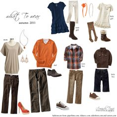 fall wardrobe for a family- what to wear for a photo session: blue, orange and brown Family Picture Poses, Family Picture Outfits, Family Photo Sessions, Winter Family Photos, Fall Photos, Fall Pics, Clothing Photography, Family Photography, Photography Outfits