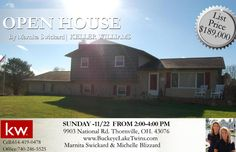 Join us Sunday 11-22 from 2:-4: for an open house! Just Listed This Beautiful Home at 9903 National Rd in Thornville! Priced at $189,000! Large family home located on an acre! The home has a well insulated 24x60 garage was built in 2008 includes tons of lighting, drywall, electric & concrete floors.Improvements including: windows, roof, & water softener, well, well pump & pressure tank, pool cover & pool pump & heating & cooling. For more info on this listing call us 614-419-0478