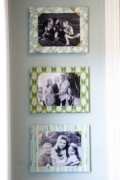 Fabric Covered Canvas Photo Mounts: Cover a canvas with fabric and attach photographs to the top for an inexpensive framing idea!