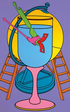"Michael Craig-Martin ""Untitled (Wine Glass)"" Acrylic on canvas. Purple Umbrella, James Rosenquist, Michael Craig, Jim Dine, Still Life Artists, Jasper Johns, Ligne Claire, Claes Oldenburg, Tree Carving"