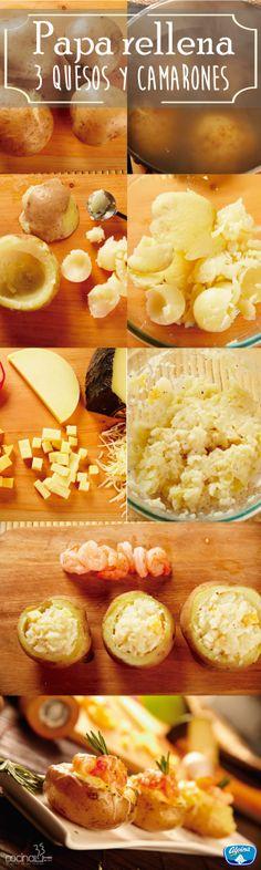 PAPAS RELLENAS A LOS TRES QUESOS Y CAMARONES Ingredientes: 4 papas, 1 ramita de romero, 160 gr de camarones precocidos, Sal y pimienta al gusto, Leche, 100 gr de queso manchego Alpina, 100 g de queso holandés Alpina, 100 g de queso provolone Alpina.
