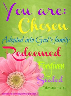 You are: Chosen, Adopted into God's Family, Redeemed, Forgiven, Sealed