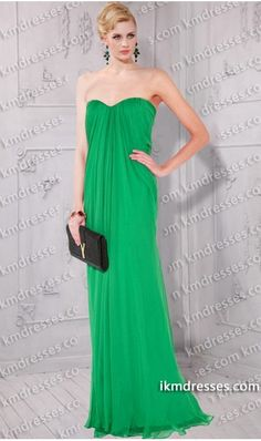 Stunning++Strapless+Semi-silk+chiffon+gown++inspired+by+Jessica+Alba+and+Mary+J.+Blige+Green+Dresses