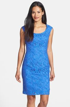 Free shipping and returns on Adrianna Papell Scoop Neck Lace Sheath Dress at Nordstrom.com. Figure-shaping seams refine the silhouette of a classic scoop-neck sheath accentuated with a tonal lace overlay for a romantic impression.