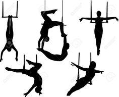 Siluetas de personajes del circo. Trapecio. Ilustraciones vectoriales. Clip art vectorizado.