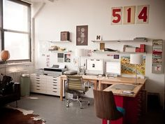 Craft room makeover idea-- L-shaped desk away from window instead of under.