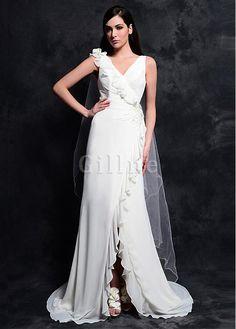 split Vestidos Fold Bridal Gowns V Neck Pearls Applique pleats Sheath Beaded  Flower Crisscross Wedding Dress 2015 New Arrival 07dc46de8bff