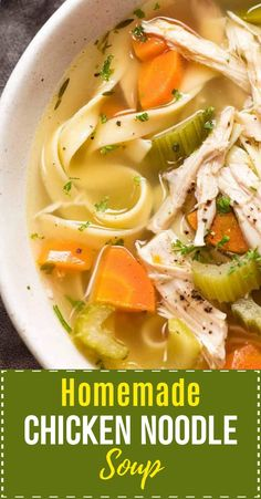 Homemade Chicken Noodle Soup (from scratch!) - Close ups of clear chicken soup broth for Homemade Chicken Noodle Soup - Homade Chicken Noodle Soup, Chicken Soup Recipes, Chicken Noodle Soup Rotisserie, Homemade Chicken Vegetable Soup, Chicken Broth Soup, Turkey Noodle Soup, Noodle Soups, Hamburger Recipes, Healthy Soup