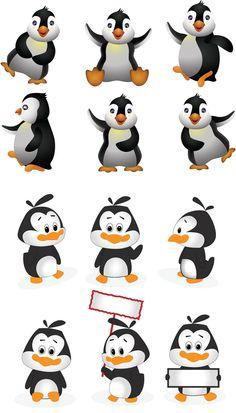Cartoon penguins vector