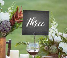 Wedding Table Numbers, Rustic Chalkboard, Seating Table Cards, DIY, Printable, Instant Download, PDF, Digital File, Wedding Template