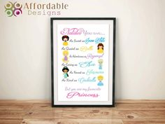 Favourite Princess Personality by AffordableDesignsAus on Etsy