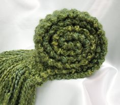 Green Scarf Chunky Knit Long Knitted Winter by SticksNStonesGifts, $28.00