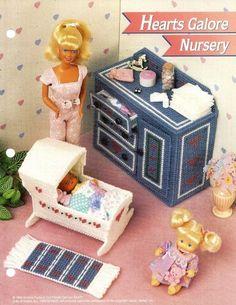 DIY Barbie Furniture with plastic canvas | Barbie Doll Hearts Nursery Furniture Annies Plastic Canvas Pattern ...