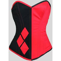 Harley Quinn Overbust Steel Boned Corset (950 PLN) ❤ liked on Polyvore featuring costumes, party costumes, party halloween costumes, harley quinn halloween costume, red costumes and burlesque halloween costumes