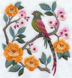 Chinoiserie Bird and Flowers Scene Machine Embroidery Designs