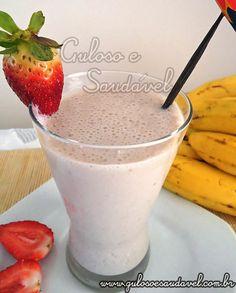 Vitamina de Banana com Morangos (Smoothie) » Bebidas, Liquidificador, Receitas Saudáveis » Guloso e Saudável