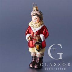 Vánoční skleněná figurka - Panáček s lucernou  /Czech christmas ornament from Glassor.cz