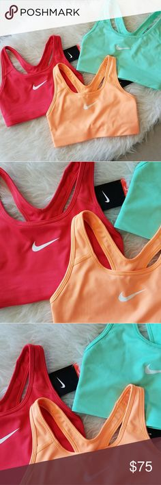 Nike Sports Bra The Orange & Red are NWT, Mint is NWOT (when I bought it, it was missing a tag but the last mint color). Selling each one for $25. All size small. Please select the color you are interested in upon check out. Open to offers. NO TRADES. Nike Intimates & Sleepwear Bras