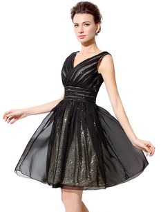 Black Gold Short Tulle Sequin Evening Formal Prom e33cb5528047