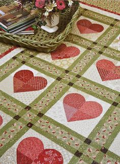 Thimbleberries by Lynette Jensen QUILTED HEARTS Patchwork Applique Wall  Quilt Pattern Template.  6.75 5754801ede